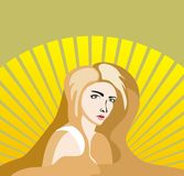 Vector sunny girl with long hair Stock Photography