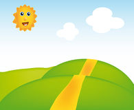 Vector sunny landscape. Nice illustration of sunny landscape isolated on background Royalty Free Stock Photos