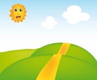 Vector sunny landscape. Nice illustration of sunny landscape isolated on background Royalty Free Stock Photos