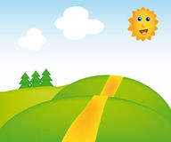 Vector sunny landscape Stock Photography