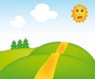 Vector sunny landscape. Nice illustration of sunny landscape isolated on background Stock Photography
