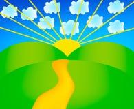 Vector sunny landscape. Nice illustration of sunny landscape isolated on background Stock Photos
