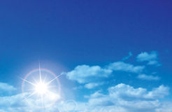 Vector sunny sky with clouds Stock Photography