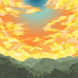 Vector. Sunrise with a colorful sky above hill Royalty Free Stock Photos
