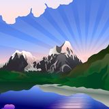 Vector Sunrise over the mountain lake. Landscape depicts a sunrise over the mountain lake Stock Photos