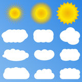 Vector Suns and clouds Stock Images