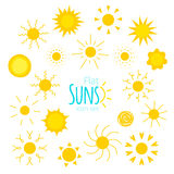 Vector suns icons of different forms in the flat style. Isolated on white background. Collection of suns illustrations for web, design. Doodle and geometric royalty free illustration