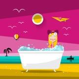 Vector Sunset Landscape with Beautiful Woman in Bathtub. On Ocean Beach vector illustration