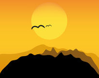 Vector sunset in mountains Royalty Free Stock Photo