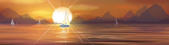 Vector sunset sea. Vector sunset sea and yachts Stock Images