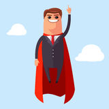 Vector Super Businessman flies to success Royalty Free Stock Image