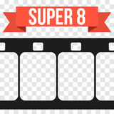 Vector Super 8 Film Strip Illustration on transparent Stock Photography