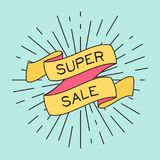 Vector Super Sale poster with ribbon and vintage light rays. Retro elements for banners, posters, gift cards, advertising and web royalty free illustration