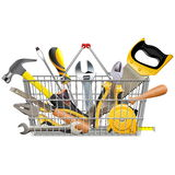 Vector Supermarket Basket with Instruments Stock Photography
