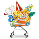 Vector Supermarket Cart with Beach Accessories Royalty Free Stock Photos