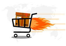 Vector Supermarket Cart with Box delivery express concept. Royalty Free Stock Photography