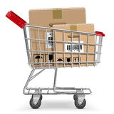 Vector Supermarket Cart with Box Stock Images
