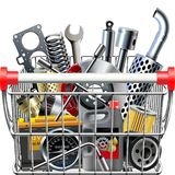Vector Supermarket Cart with Car Parts Rear View. Isolated on white background Royalty Free Stock Image