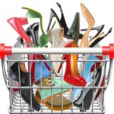 Vector Supermarket Cart with Shoes Vector Illustration