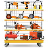 Vector Supermarket Shelves with Tools Royalty Free Stock Photography