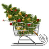 Vector Supermarket Sled with Christmas Tree Stock Images