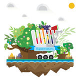 Vector supermarket trolley, fruit, grass, soil tree and wat Royalty Free Stock Photos