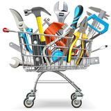 Vector Supermarket Trolley with Hand Tools. Isolated on white background Royalty Free Stock Photography