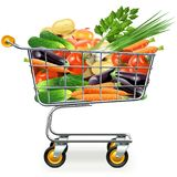 Vector Supermarket Trolley with Vegetables Royalty Free Stock Photos