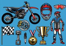 Supermoto concept set elements Royalty Free Stock Images
