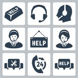 Vector support, call center icons Stock Image