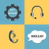 Vector support, call center set. Headphones 24 hour Royalty Free Stock Photos