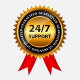 Vector 24/7 SUPPORT gold sign, label template Stock Images