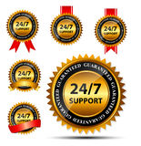 Vector 24/7 SUPPORT gold sign, label template. This is file of EPS10 format Royalty Free Stock Image