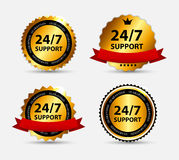 Vector 24-7 SUPPORT Sign, Label Template Stock Image