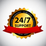 Vector 24-7 SUPPORT Sign, Label Template Royalty Free Stock Photo