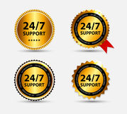 Vector 24-7 SUPPORT Sign, Label Template Stock Images
