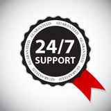 Vector 24-7 SUPPORT Sign, Label Template. EPS10 Royalty Free Stock Image
