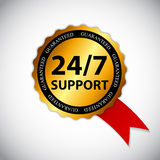 Vector 24-7 SUPPORT Sign, Label Template Royalty Free Stock Images