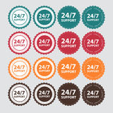 Vector 24/7 SUPPORT Sign, Label Template Royalty Free Stock Photo