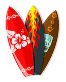 Vector surf boards. With Hawaiian patterns Royalty Free Stock Photos