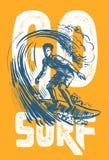 Vector surf man. Vector surf man T-shirt pattern Surfing emblem Royalty Free Stock Images