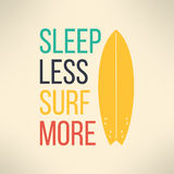 Vector surf typography sleep less surf more. T Stock Image