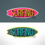 Vector surf typography on surfing board in modern Stock Image