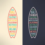 Vector surf typography surfing the world. T-shirt Stock Images