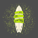 Vector surfboard in dark cartoon graffiti design Stock Photography