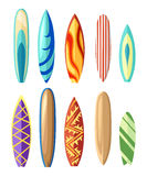 Vector surfboard illustration in flat style design Isolated on white background Color surfboard set. Sea extreme sport pattern. Ve. Ctor illustration Royalty Free Stock Photo