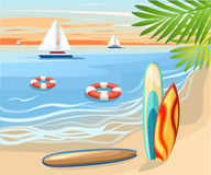 Vector surfboard illustration in flat style design Isolated on white background Color surfboard set. Sea extreme sport pattern. Ve Royalty Free Stock Photos