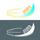 Vector surfboard logo with wave or surfing shop Royalty Free Stock Photography
