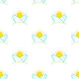 Vector surfboards and sun seamless pattern in modern flat design. Sunny surfing and beach background Stock Images