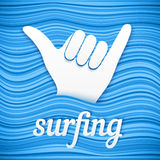 Vector surfers shaka hand with paper sign surfing Stock Photos